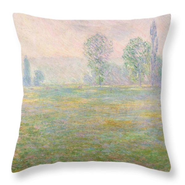 Meadows In Giverny Throw Pillow by Claude Monet
