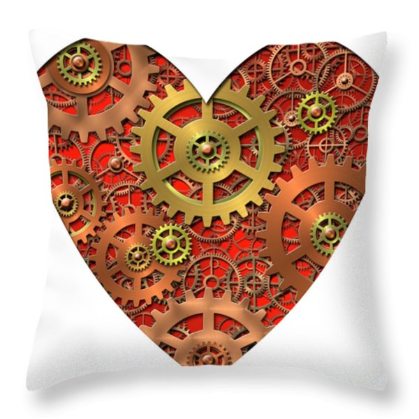 mechanical heart Throw Pillow by Michal Boubin
