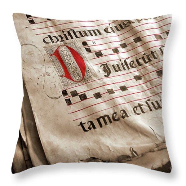 Medieval Choir Book Throw Pillow by Carlos Caetano