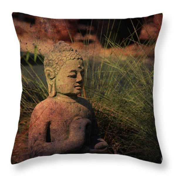 Meditation Throw Pillow by Susanne Van Hulst