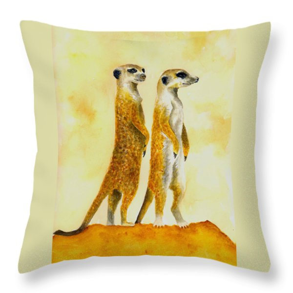 Meerkats Throw Pillow by Michael Vigliotti