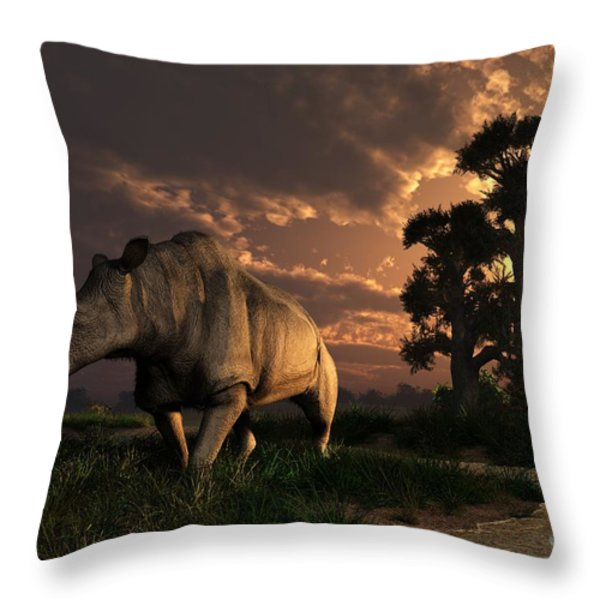Megacerops At Breakfast Throw Pillow by Daniel Eskridge