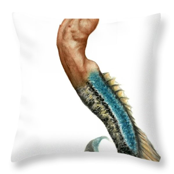 Merman Throw Pillow by Bruce Lennon
