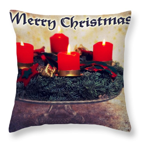 Merry Christmas Throw Pillow by Angela Doelling AD DESIGN Photo and PhotoArt