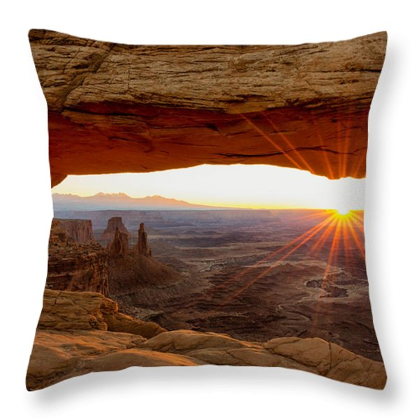 Mesa Arch Sunrise - Canyonlands National Park - Moab Utah Throw Pillow by Brian Harig