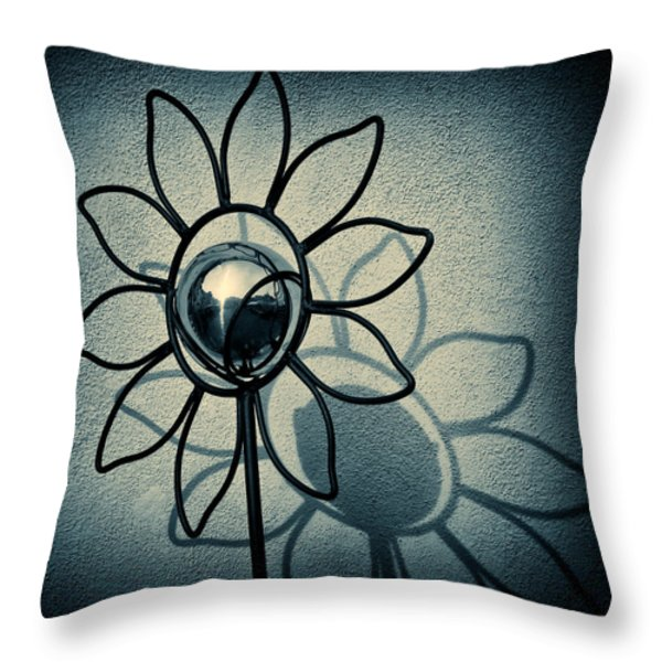 Metal Flower Throw Pillow by Dave Bowman
