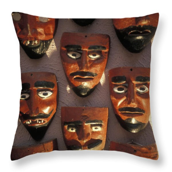 Mexican Devil Masks Throw Pillow by John  Mitchell