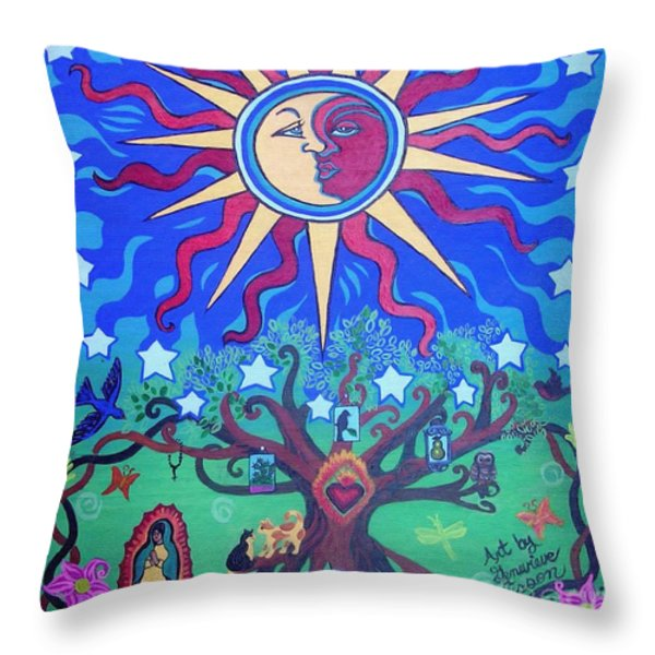 Mexican Retablos Prayer Board Throw Pillow by Genevieve Esson