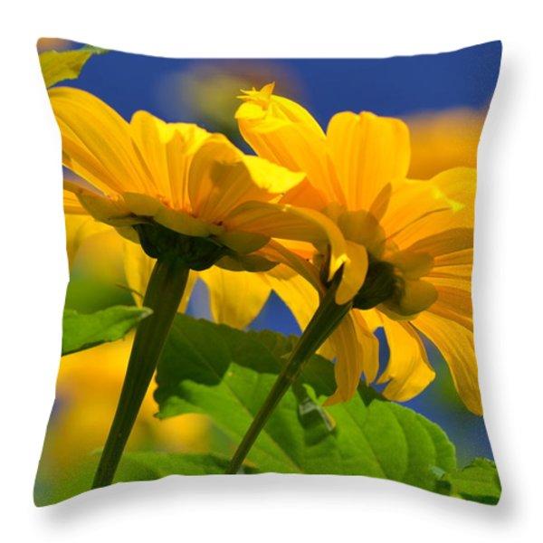 Mexican Sunflower Tree Throw Pillow by Melanie Moraga