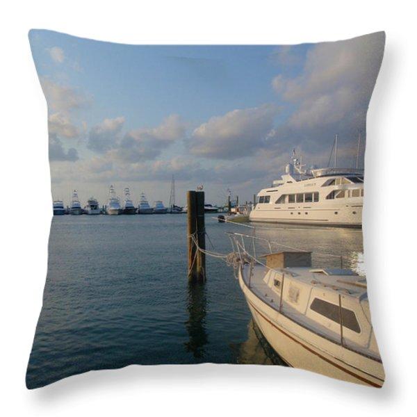 Miami Harbor Throw Pillow by JAMART Photography