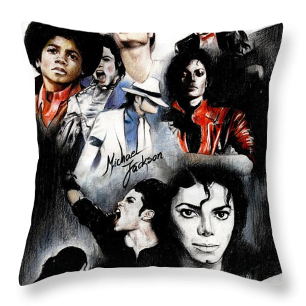 Michael Jackson - King Of Pop Throw Pillow by Lin Petershagen