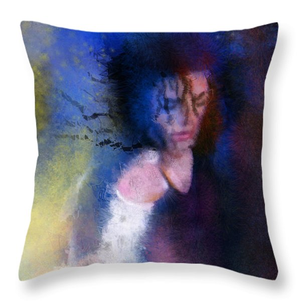 Michael Jackson 16 Throw Pillow by Miki De Goodaboom
