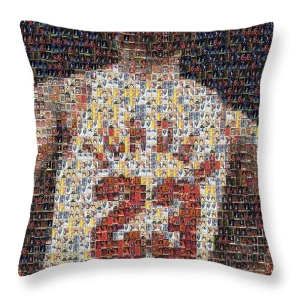 Michael Jordan Card Mosaic 2 Throw Pillow by Paul Van Scott