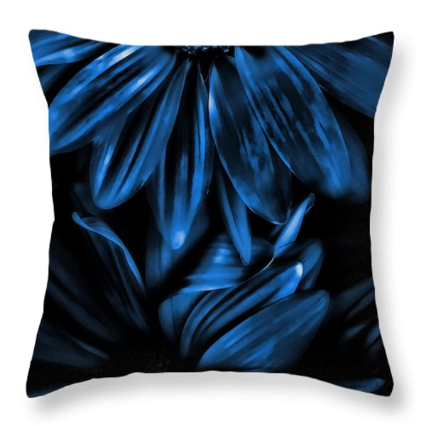 Midnight Blue Gerberas Throw Pillow by Bonnie Bruno