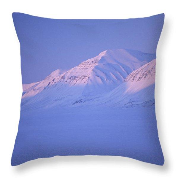 Midnight Sunset On Polar Mountains Throw Pillow by Gordon Wiltsie