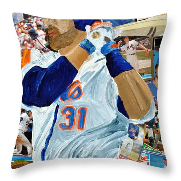 Mike Piazza Throw Pillow by Michael Lee