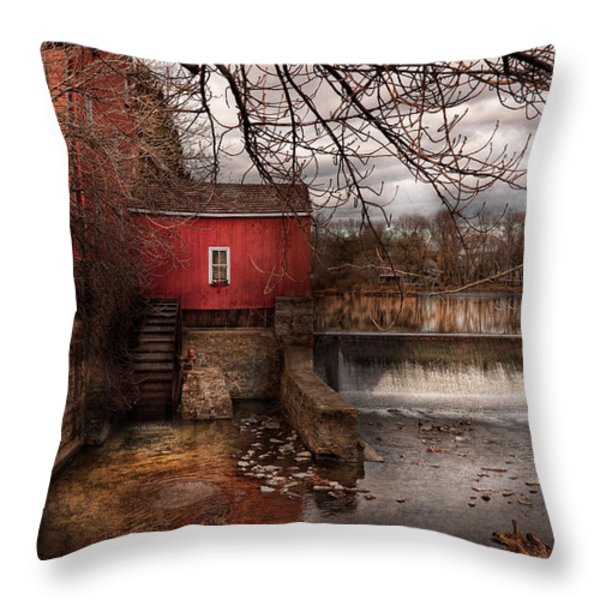 Mill - Clinton NJ - The mill and wheel Throw Pillow by Mike Savad