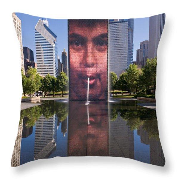 Millennium Park Fountain and Chicago Skyline Throw Pillow by Steve Gadomski