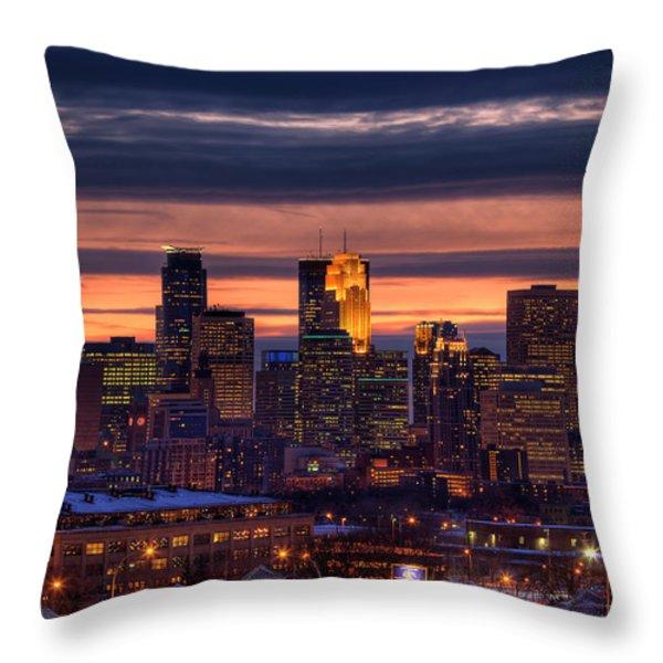 Minneapolis Skyline Throw Pillow by Shawn Everhart
