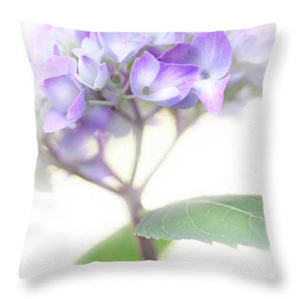 Misty Hydrangea Flower Throw Pillow by Jennie Marie Schell
