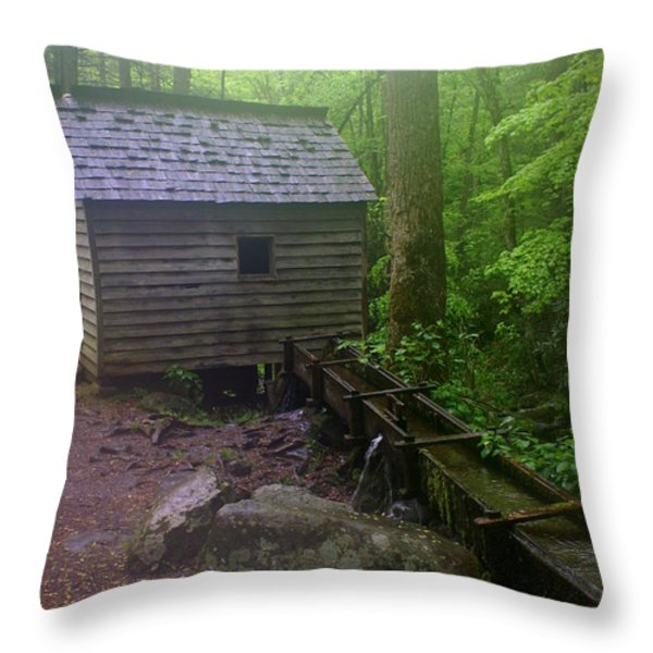 Misty Mill Throw Pillow by Marty Koch