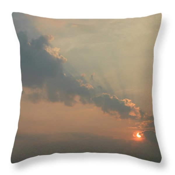 Misty Morning Promise Throw Pillow by Richard De Wolfe