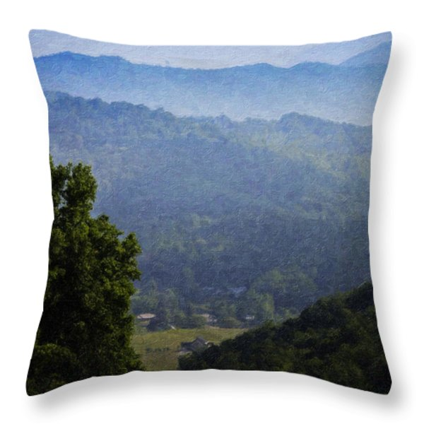 Misty Virginia Morning Throw Pillow by Teresa Mucha