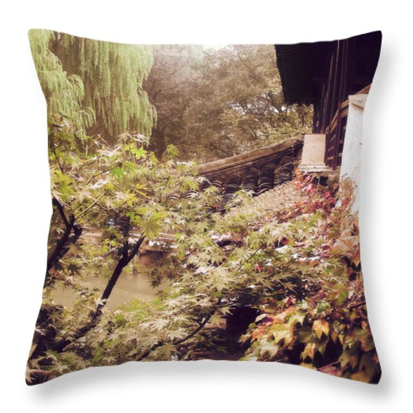 Misty Willows Throw Pillow by Ivy Ho