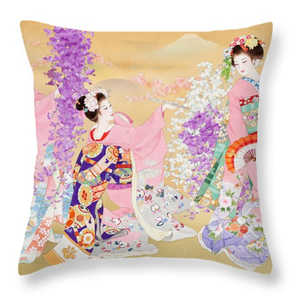Miyako Odori Throw Pillow by Haruyo Morita
