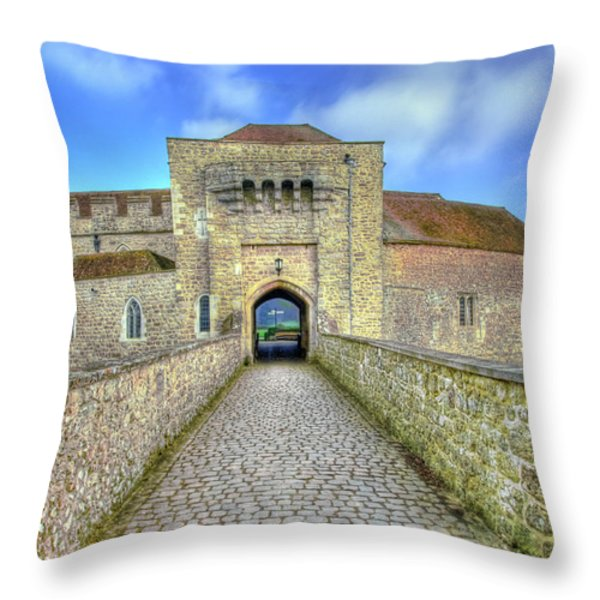 Moat House Leeds Castle Throw Pillow by Chris Thaxter