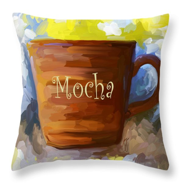 Mocha Coffee Cup Throw Pillow by Jai Johnson