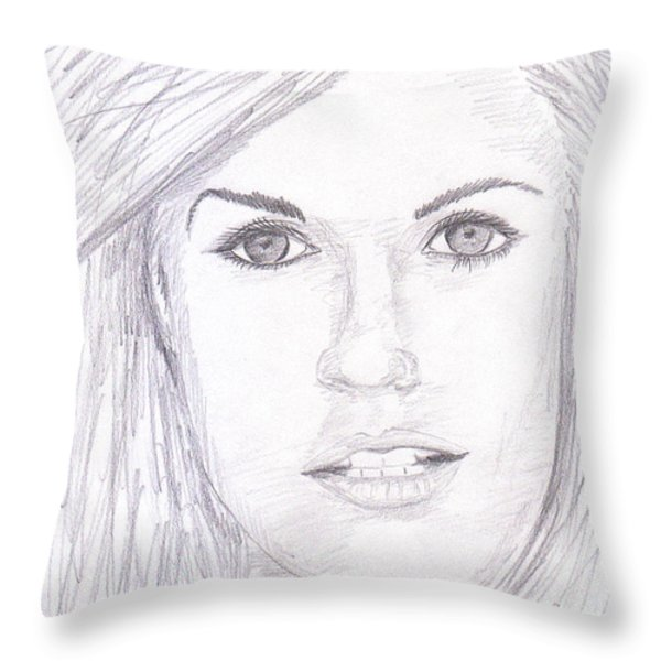 Model with blond hair Throw Pillow by Jose Valeriano
