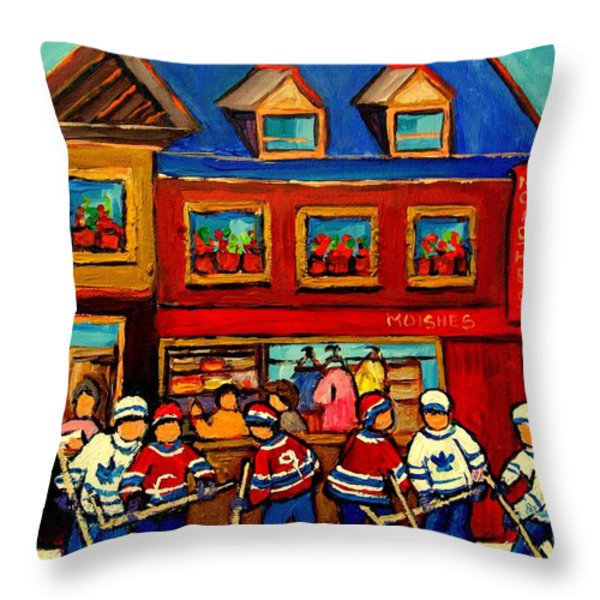 Moishes Steakhouse Hockey Practice Throw Pillow by Carole Spandau