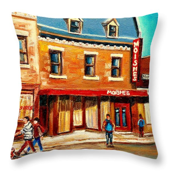 Moishes The Place For Steaks Throw Pillow by Carole Spandau