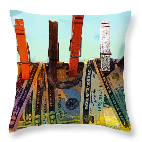 Money Laundering  Throw Pillow by Karon Melillo DeVega