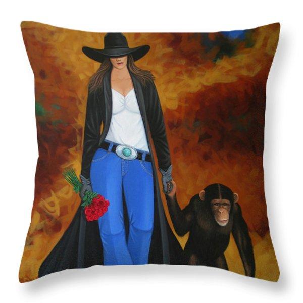 Monkeys Best Friend Throw Pillow by Lance Headlee