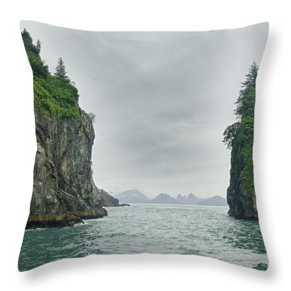 Monoliths In Aialik Cape On A Foggy Throw Pillow by James Forte