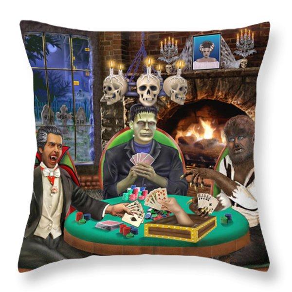 Monster Poker Throw Pillow by Glenn Holbrook