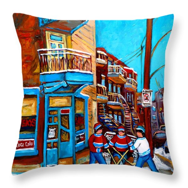MONTREAL CITY SCENE HOCKEY AT WILENSKYS Throw Pillow by CAROLE SPANDAU
