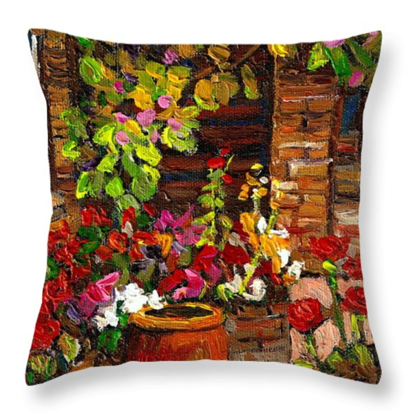 MONTREAL CITYSCENES HOMES AND GARDENS Throw Pillow by CAROLE SPANDAU