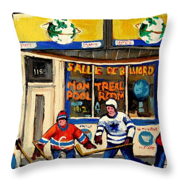 MONTREAL POOLROOM HOCKEY FANS Throw Pillow by CAROLE SPANDAU