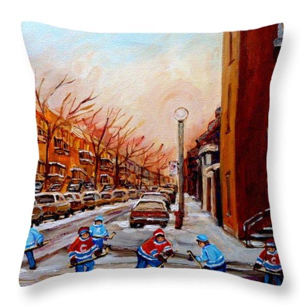 Montreal Street Hockey Game Throw Pillow by Carole Spandau