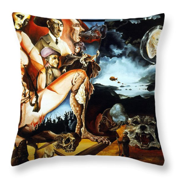 MONUMENT TO THE UNBORN WAR HERO Throw Pillow by Otto Rapp