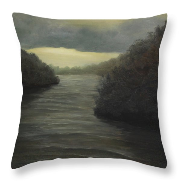 Moody River Throw Pillow by Johanna Lerwick
