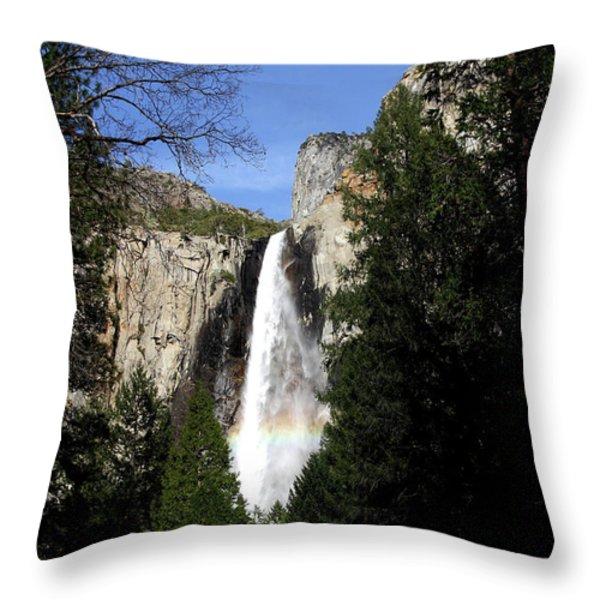Moon Over Bridalveil Fall At Yosemite Throw Pillow by Wingsdomain Art and Photography