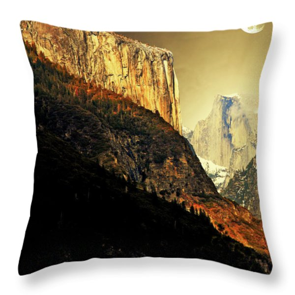 Moon Over Half Dome . Portrait Cut Throw Pillow by Wingsdomain Art and Photography