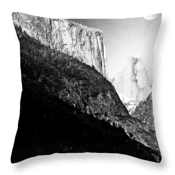 Moon Over Half Dome . Black and White Throw Pillow by Wingsdomain Art and Photography