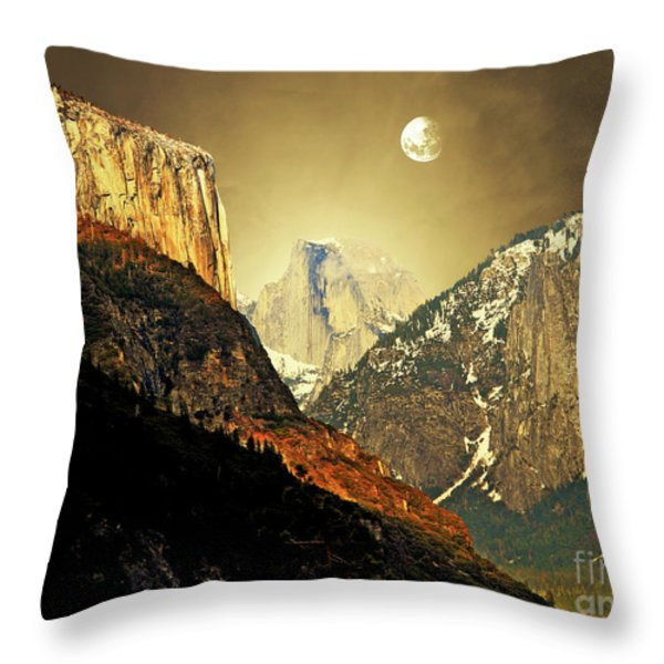 Moon Over Half Dome Throw Pillow by Wingsdomain Art and Photography