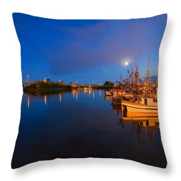 Moon Over Sitka Marina Throw Pillow by Mike  Dawson