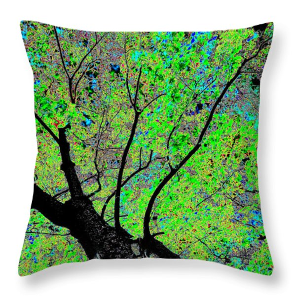 Moon Over The Maples Throw Pillow by Will Borden